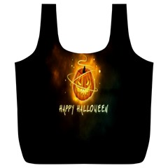Happy Halloween Pumpkins Face Smile Face Ghost Night Full Print Recycle Bags (l)