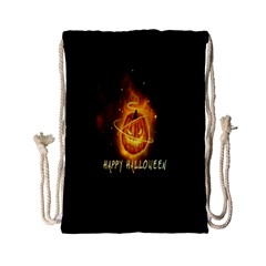 Happy Halloween Pumpkins Face Smile Face Ghost Night Drawstring Bag (small) by Alisyart