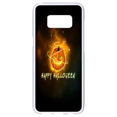 Happy Halloween Pumpkins Face Smile Face Ghost Night Samsung Galaxy S8 White Seamless Case by Alisyart
