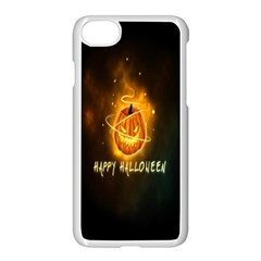 Happy Halloween Pumpkins Face Smile Face Ghost Night Apple Iphone 8 Seamless Case (white)