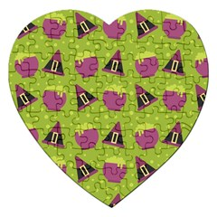 Hat Formula Purple Green Polka Dots Jigsaw Puzzle (heart) by Alisyart