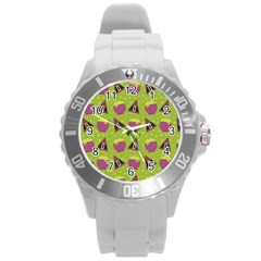 Hat Formula Purple Green Polka Dots Round Plastic Sport Watch (l)