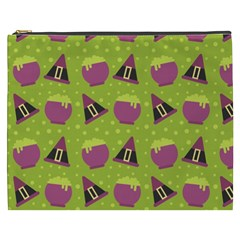 Hat Formula Purple Green Polka Dots Cosmetic Bag (xxxl)