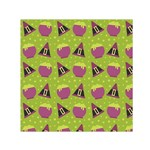 Hat Formula Purple Green Polka Dots Small Satin Scarf (Square) Front