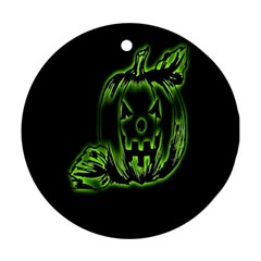 Pumpkin Black Halloween Neon Green Face Mask Smile Ornament (round) by Alisyart