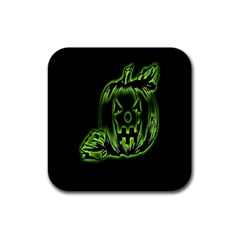 Pumpkin Black Halloween Neon Green Face Mask Smile Rubber Square Coaster (4 Pack)
