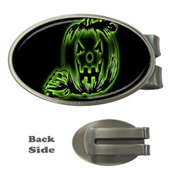Pumpkin Black Halloween Neon Green Face Mask Smile Money Clips (oval)  by Alisyart
