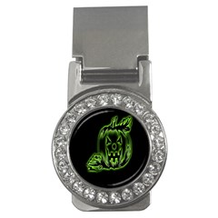 Pumpkin Black Halloween Neon Green Face Mask Smile Money Clips (cz)  by Alisyart