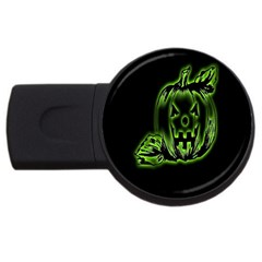 Pumpkin Black Halloween Neon Green Face Mask Smile Usb Flash Drive Round (2 Gb) by Alisyart