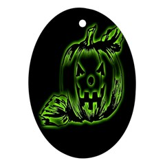 Pumpkin Black Halloween Neon Green Face Mask Smile Oval Ornament (two Sides) by Alisyart