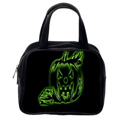 Pumpkin Black Halloween Neon Green Face Mask Smile Classic Handbags (one Side)
