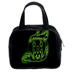 Pumpkin Black Halloween Neon Green Face Mask Smile Classic Handbags (2 Sides) by Alisyart