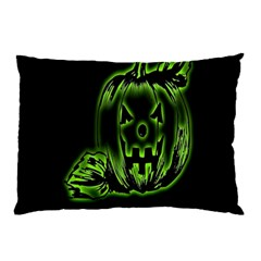 Pumpkin Black Halloween Neon Green Face Mask Smile Pillow Case (two Sides)