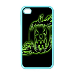 Pumpkin Black Halloween Neon Green Face Mask Smile Apple Iphone 4 Case (color) by Alisyart