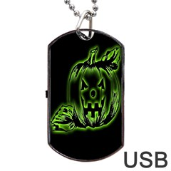 Pumpkin Black Halloween Neon Green Face Mask Smile Dog Tag Usb Flash (two Sides) by Alisyart