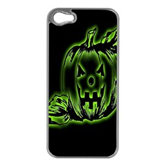 Pumpkin Black Halloween Neon Green Face Mask Smile Apple Iphone 5 Case (silver)