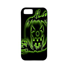 Pumpkin Black Halloween Neon Green Face Mask Smile Apple Iphone 5 Classic Hardshell Case (pc+silicone) by Alisyart