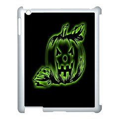 Pumpkin Black Halloween Neon Green Face Mask Smile Apple Ipad 3/4 Case (white)