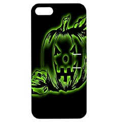 Pumpkin Black Halloween Neon Green Face Mask Smile Apple Iphone 5 Hardshell Case With Stand