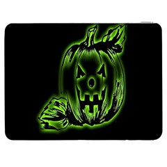 Pumpkin Black Halloween Neon Green Face Mask Smile Samsung Galaxy Tab 7  P1000 Flip Case by Alisyart