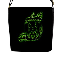 Pumpkin Black Halloween Neon Green Face Mask Smile Flap Messenger Bag (l)