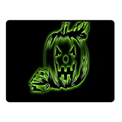 Pumpkin Black Halloween Neon Green Face Mask Smile Double Sided Fleece Blanket (small)  by Alisyart