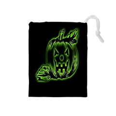 Pumpkin Black Halloween Neon Green Face Mask Smile Drawstring Pouches (medium)
