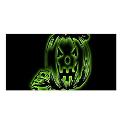 Pumpkin Black Halloween Neon Green Face Mask Smile Satin Shawl by Alisyart