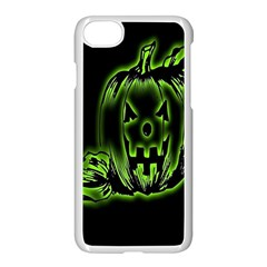 Pumpkin Black Halloween Neon Green Face Mask Smile Apple Iphone 8 Seamless Case (white) by Alisyart