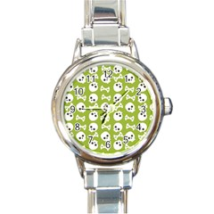 Skull Bone Mask Face White Green Round Italian Charm Watch