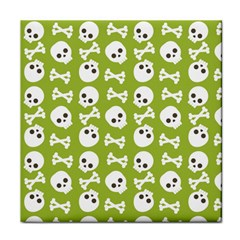 Skull Bone Mask Face White Green Tile Coasters