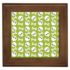 Skull Bone Mask Face White Green Framed Tiles