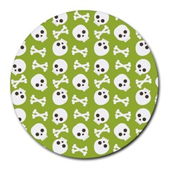 Skull Bone Mask Face White Green Round Mousepads