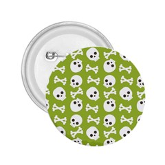Skull Bone Mask Face White Green 2.25  Buttons