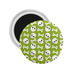 Skull Bone Mask Face White Green 2.25  Magnets