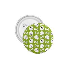 Skull Bone Mask Face White Green 1.75  Buttons