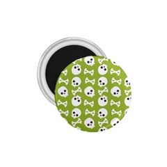 Skull Bone Mask Face White Green 1.75  Magnets