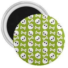 Skull Bone Mask Face White Green 3  Magnets