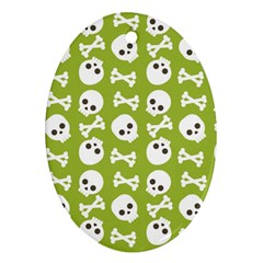 Skull Bone Mask Face White Green Ornament (Oval)
