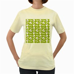Skull Bone Mask Face White Green Women s Yellow T-Shirt