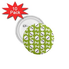 Skull Bone Mask Face White Green 1.75  Buttons (10 pack)