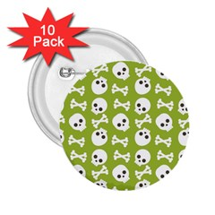 Skull Bone Mask Face White Green 2.25  Buttons (10 pack)