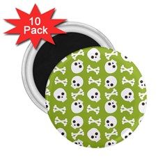 Skull Bone Mask Face White Green 2.25  Magnets (10 pack)