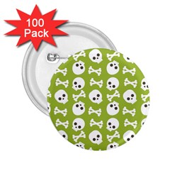 Skull Bone Mask Face White Green 2.25  Buttons (100 pack)