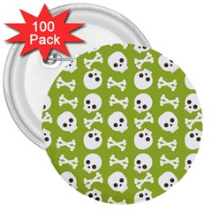 Skull Bone Mask Face White Green 3  Buttons (100 pack)