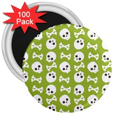 Skull Bone Mask Face White Green 3  Magnets (100 pack)