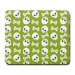 Skull Bone Mask Face White Green Large Mousepads