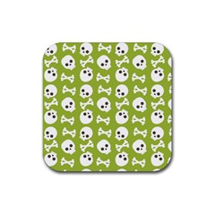 Skull Bone Mask Face White Green Rubber Coaster (Square)