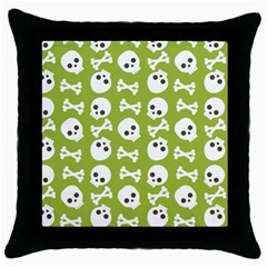 Skull Bone Mask Face White Green Throw Pillow Case (Black)