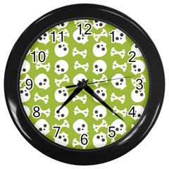 Skull Bone Mask Face White Green Wall Clocks (Black)